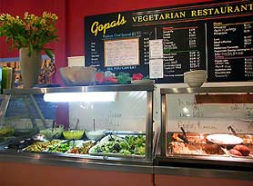 Gopals Vegetarian Restaurant - run by the Hare Krishnas. Wonderful vegetarian lasagna