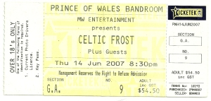 Celtic Frost 2007 ticket