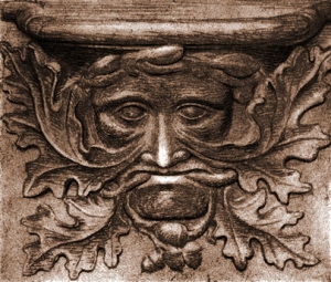 Etching of Vendome Green Man, France